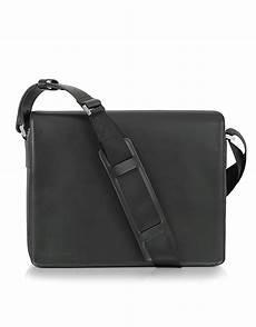lyst porsche design black leather messenger bag in black