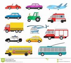 set of cars and vehicles stock vector image