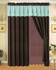 Teal Drapes Curtains by Floral Embroidered Curtain Set Brown Teal White