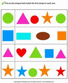 shapes worksheet matching 1179 tick shapes that matches given shape worksheet turtle diary