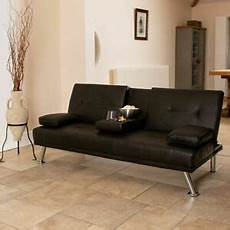 futon bed settee wido black faux leather sofa bed modern 3 seater settee