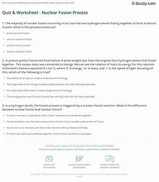 physical science fission fusion worksheet 13093 quiz worksheet nuclear fusion process study