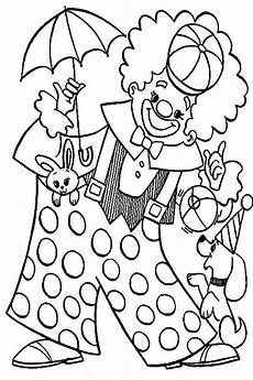 clown with animal circus coloring page color