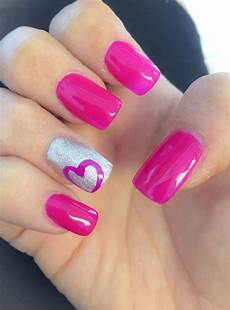 hot pink gel nail designs with heart shaped sheideas