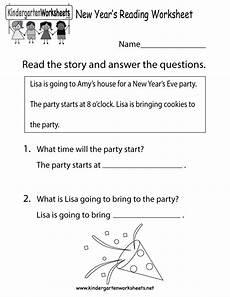 new english worksheets for kindergarten new year s reading worksheet free kindergarten holiday