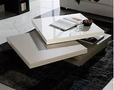 table basse carrée blanc laqué table basse carr 233 e pivotante laqu 233 blanc gris et taupe