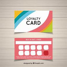 card templates free colorful loyalty card template vector free