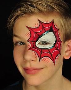 Kinderschminken Jungen Motive Spinne Rot Makeup Fasching