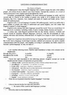 listening comprehension test the future of english esl worksheet by natalli