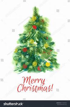 merry christmas christmas tree watercolor 2017 521465245