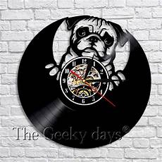 Inch Bulldog Wall Clock by 1piece Lovely Pug Bulldog Vinyl Record Led