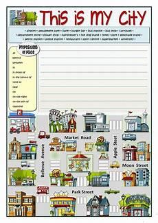 places in town writing worksheets 16040 this is my city direcciones en ingles ejercicios de ingles cosas de ingles