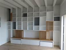 meuble en medium fabrication d une biblioth 232 que en m 233 dium de 30 mm laqu 233 portes et dessus en ch 234 ne massif