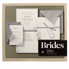 brides 174 silver and white pocket invitation kit wedding invitation kits wedding stationery