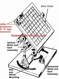 simple solar tracker system mechanism and working homemade circuit projects