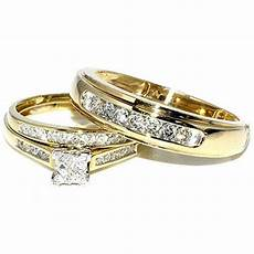 princess cut trio wedding rings set his and hers diamonds 0 75ct 10k gold yellow gold rings