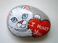 I You White Cat Painted Rock Paperweight