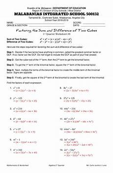 factoring the sum and difference of two cubes worksheet