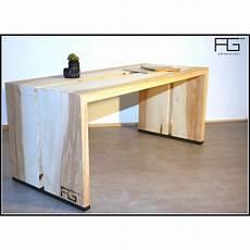 Table Basse Fluere Artisanal Bois Massif Bords Brut Live
