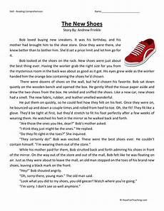 reading comprehension worksheet the new shoes