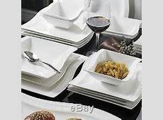 White Porcelain Dinnerware Set China Dishes Modern 26pc