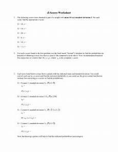 z scores worksheet