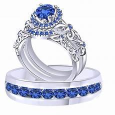 blue sapphire trio wedding ring band solid 18k white gold ebay