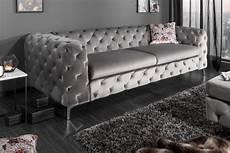 chesterfield sofa grau elegantes chesterfield 3er sofa modern barock 240cm grau