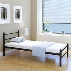 letto singolo con materasso vidaxl letto singolo con materasso metallo nero 90x200 cm