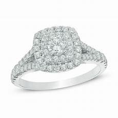 1 ct t w diamond double square frame engagement ring in