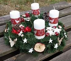 adventskranz rot wei 223 216 35cm hirsch elche adventsgesteck