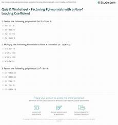 quiz worksheet factoring polynomials with a non 1 leading coefficient study com
