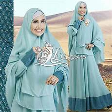 Snow Dress Blue Baju Muslim Gamis Modern