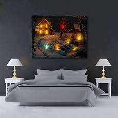 us led light up snow deer log cabin canvas art picture print home wall decor diy walmart com