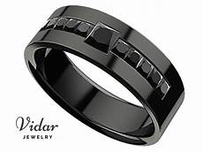 men s princess black diamond black gold wedding ring vidar jewelry unique custom engagement