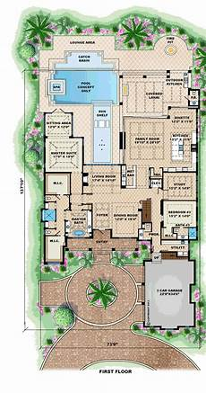 first floor plan of mediterranean house plan 75913