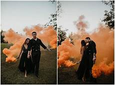 Smoke Bombs And Pumpkins For An Orange And Black Inspired Wedding