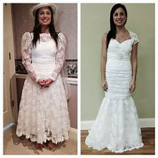 front view of old dress and front of new dress at first fitting my wedding plans if i ever