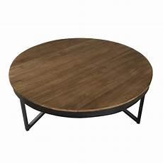 Table Basse Ronde Bois De Teck Recycl 233 M 233 Tal Noir Grand
