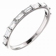 moissanite wedding band 14k white gold horizontal