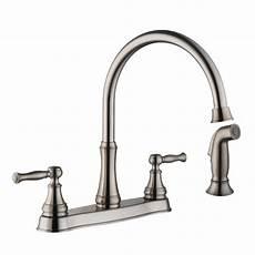 glacier bay kitchen faucet installation glacier bay fairway 2 handle standard kitchen faucet with side sprayer in stainless steel