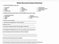 written document analysis worksheet worksheet for 7th