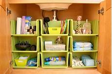 bathroom cabinet organization using stackables from the