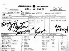 actor call sheet martin kove film production from the