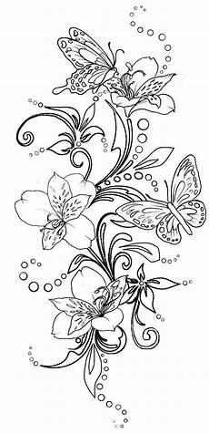 Ausmalbilder Blumen Schmetterlinge Butterflies And Flowers With Swirls By Metacharis