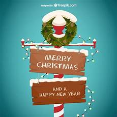 merry christmas and happy new year wooden sign vector free download