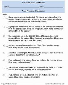 3rd grade math worksheet addition and subtraction word problems third grade subtraction word problems 3rd grade math