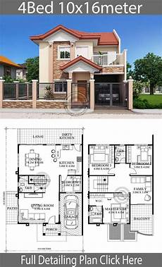 simple house plans in philippines home design 10x16m 4 bedrooms home planssearch