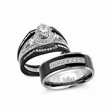 bellux style his and hers wedding ring sets stainess steel vintage style halo deisgn bridal
