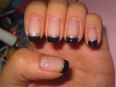 jelly s nails black french tips with silver lining